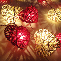 20 Red White Heart Rattan Lover Fairy Lights String by marwincraft