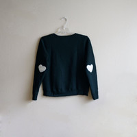 Heart Elbow Patch Sweatshirt for Children, Navy Blue, Wool Patch, Valentine's Day Sweater, Ecosmart