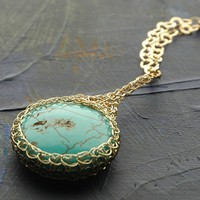 Greenish Turquoise Potion charm necklace crocheted with by Yoola
