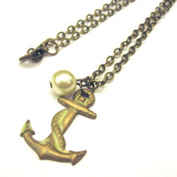 Nautical Anchor Creamy White Necklace with Vintage by SovereignSea