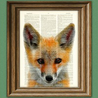 Red Fox Art Print over an upcycled vintage dictionary page book Woodland art print