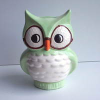 Wise Owl Bank Vintage Design Mint Green by fruitflypie on Etsy