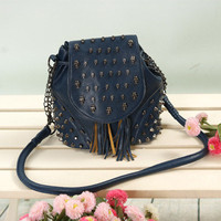 Fashion Rretro Tassels With Skull Rivet Backpack& Handbags