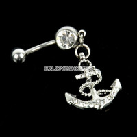 Women Body Anchor Dangle Belly Bar Navel Ring Fashion Retro Jewelry Gift EN24H