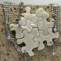 Puzzle Piece Necklace Set of 5 Bridesmaid or Best Friend Pendants Swarovski pearls Polymer Clay Starfish pattern