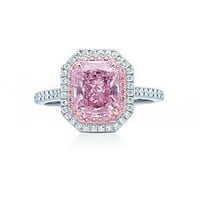 Tiffany & Co. | Item | Rectangular modified brilliant purplish pink diamond ring in platinum. | United States