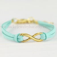 Infinity- infinity bracelet, mint green bracelet, Golden infinity, leather bracelet, sweet gift  13-02