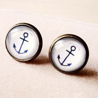 Vintage Handmade Anchor Gem Stud Earrings
