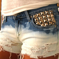 Vintage High Waisted Pyramid Studded Ombre Distressed Jean Shorts