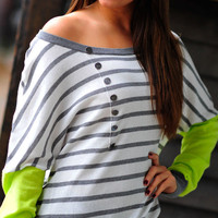 Pop Of Neon Sweater Top: Gray | Hope&#x27;s