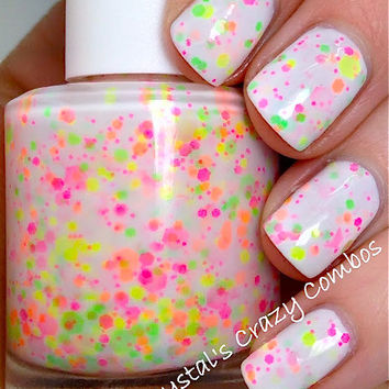 NEW--Neon Lights:  Custom-Blended NEON Glitter Nail Polish / Lacquer