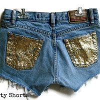 Glitter Pocket Shorts High Waisted Custom Made Denim Jean Shorts Tumblr Hipster
