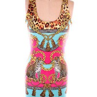 Aqua Printed Bodycon Dress  — Tanny's Couture LLC