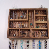 Jewelry Organizer Jewelry Display Case by barbwireandbarnwood