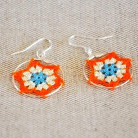 Delicate Lacy Star Earrings - Orange And Blue | Luulla