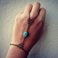 alapop  turquoise scarab slave bracelet