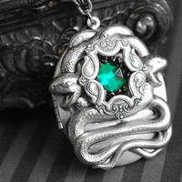 Slytherin inspired locket necklace -  Harry Potter jewelry - gothic/dark victorian