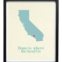 California or any other USA state home is where the heart is 8x10 in travel map