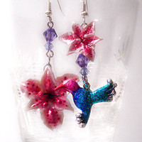 Mismatched earrings pink lily earrings hummingbird by UraniaArt