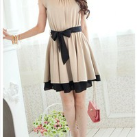 Beige or Pink dress with black bow