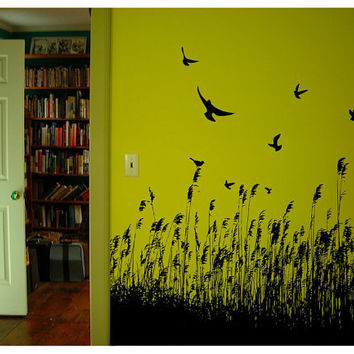 Wall Decal Birds and Wheat 22118 by CuttinUpCustomDieCut on Etsy