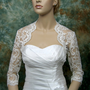 Sale-3/4 sleeve bridal shrug re-embroidered lace bolero wedding bolero jacket bridal bolero Available in ivory and white-was 99.99