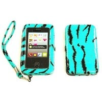 Amazon.com: FashionForward Faux Leather Zebra Smart Case Wristlet Wallet All In One For Apple iPhone 4/4S TURQUOISE: Cell Phones & Accessories