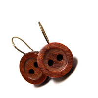 "Cute Wooden Earrings, Vintage Button Nickel Free Dangle Earrings, Earthy Brown Wood Drop Hooks, Rustic Jewelry, Eco - ""Maple Glazed Monday"""