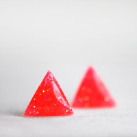 tiny triangle earrings in sparkly neon coral  by tinygalaxies