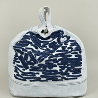 Men's Embroidered Logo Denim Tote Bag
