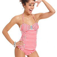 Hobie Swimsuit, Bandeau Striped Tankini Top & Striped Hipster Brief Bottom - Womens Junior Swimwear - Macy's