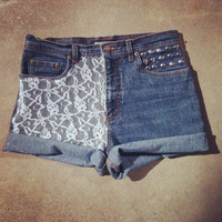 Lace cuffed studded vintage inspired high waist shorts