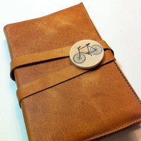 leather journal sketchbook custom handprinted for you by inblue