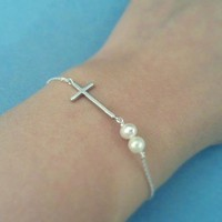 Simple Lovely, Twin Pearl Cross, Sterling Silver Chain, Bracelet