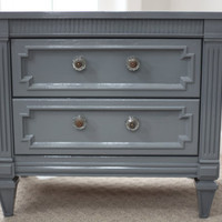 Vintage Made FRESH Glossy Gray Two-Drawer REGENCY Chest Nightstand End Table
