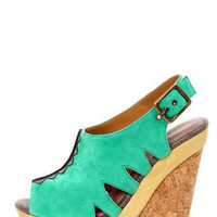 Blonde Ambition Nafita Jade Cutout Peep Toe Clog Platform Heels