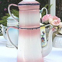 Large Antique French Enamelware Pink Cafetiere Big