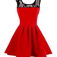 VTG Red A-line Mini flouncy dress - Lace collar cocktail Skater Dress