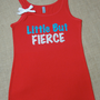 Little But Fierce. Glitter Writing. Bow. Tank top. Jersey. Size S-2XL. Exercise. Soft. Women. Workout. Fitness.