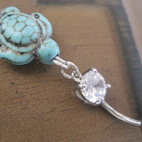 Turtle Belly Button Ring Jewelry Turquoise Charm by Azeetadesigns
