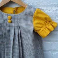 Supermarket: girl's Audrey dress in mustard and grey from SewnNatural