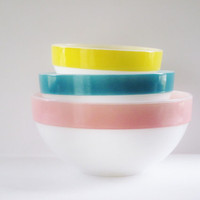 Vintage Kitchen Fire King Pastel Stripe Mixing Bowls Pink Yellow Aqua Nesting Bowls Instant Collection Easter