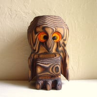 Burnt Wood Owl Home Decor Primitive Wooden