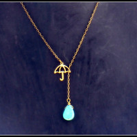 umbrella with turquoise raindrop necklace &lt;3