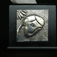 Tissue Box Cube Black Pewter Embossed by Loutul on Etsy