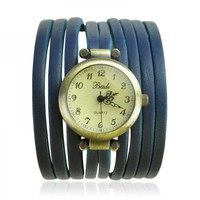 Blue Multi Silm Leather Stripes Wrap Watch