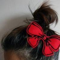 $14.00 Silkscreened felt Big RED bow by Littleclouds on Etsy