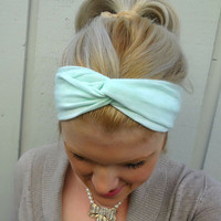 Mint green twist headband - turban - head wrap - boho - feminine