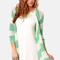 Seaside the Point Ivory and Mint Striped Sweater