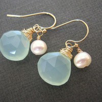 Aqua Chalcedony and Pearl Earrings